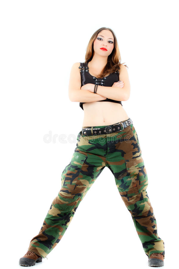 Kobieta w wojskowych ubraniach, biały tło obrazy royalty free