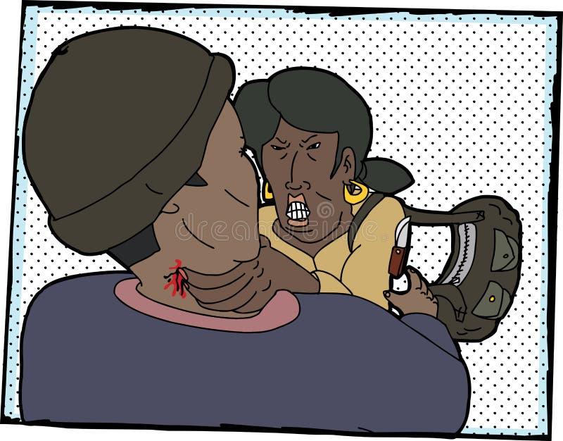 Kobieta Walczący napastnik ilustracja wektor