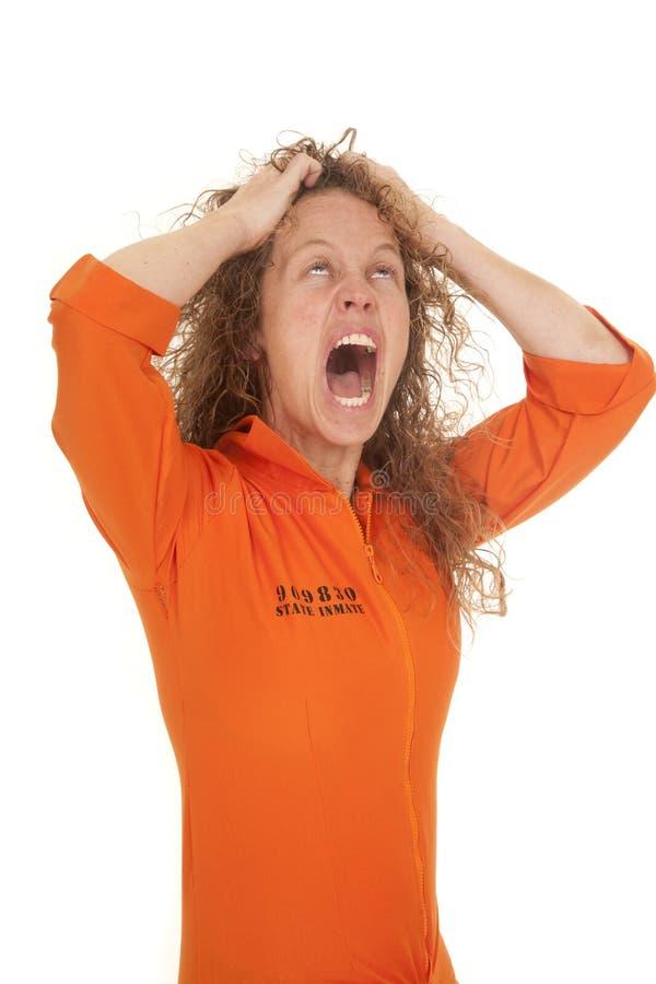 Kobieta więźnia włosy szalony zdjęcia stock