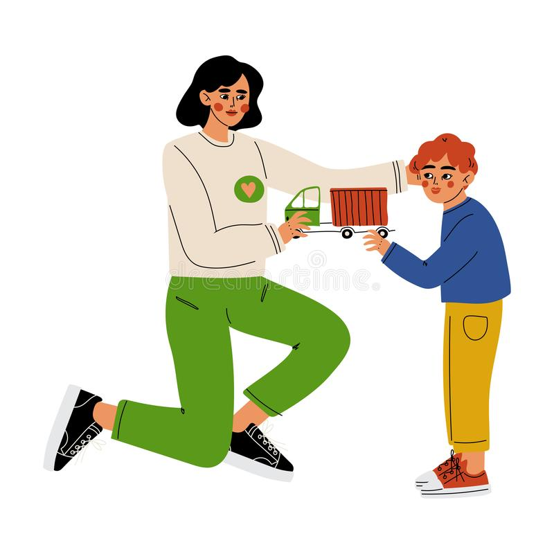 Kobieta wolontariusz Daje chłopiec zabawki samochodowi, Zgłaszać się na ochotnika, dobroczynności i zachęcanie wektoru ilustracji royalty ilustracja