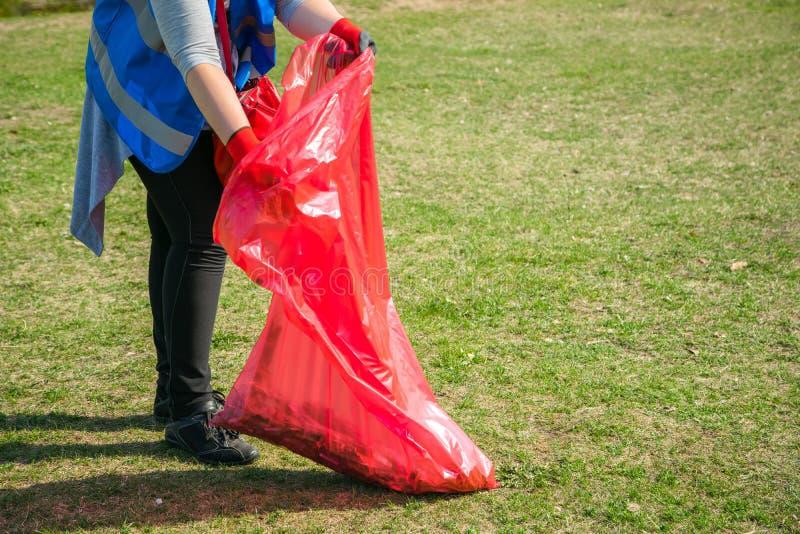 Kobieta wolontariusz jest ubranym podnosić w górę grata i klingerytu odpady parka publicznie Młoda dziewczyna jest ubranym rękawi zdjęcia royalty free