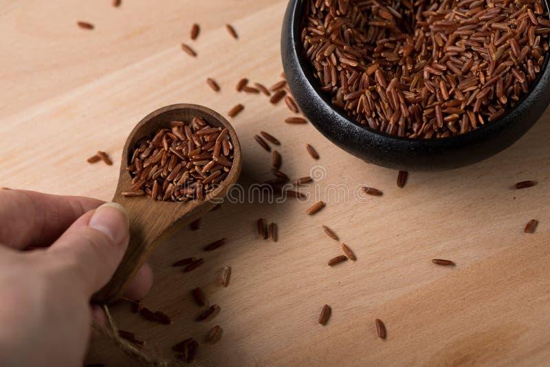 Kobieta wp8lywy czerwień skinned surowych Jaśminowych ryż w czarnym pucharze z łyżką na drewnianym tle i jest specjalnością od Ka obrazy royalty free