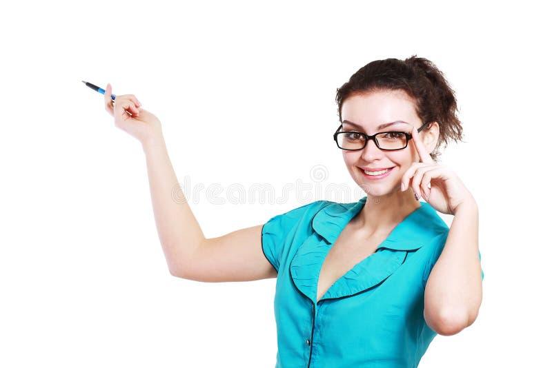 Kobieta wskazuje prezentację i robi obraz stock