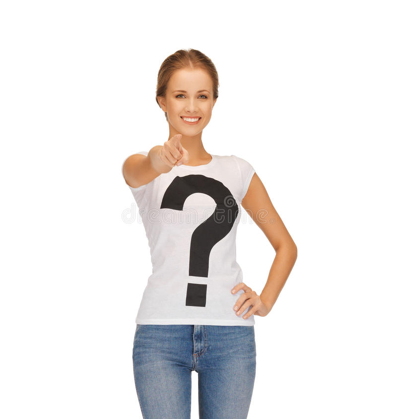 Kobieta wskazuje przy tobą w białej koszulce zdjęcie royalty free
