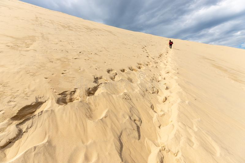 Kobieta wspina się ogromną Pyla piaska diunę obraz royalty free
