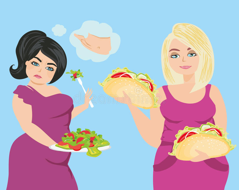 Kobieta wybiera między zdrowym i niezdrowym jedzeniem royalty ilustracja