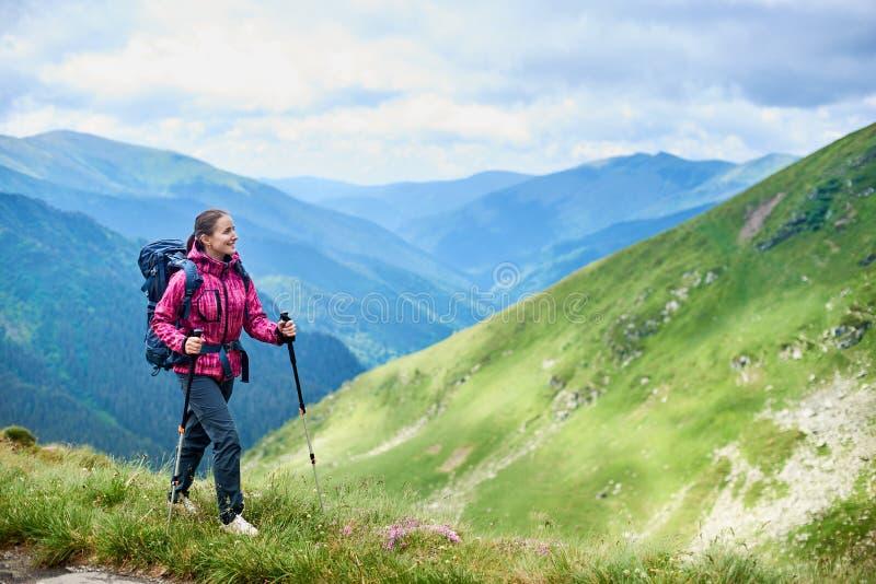 Kobieta wycieczkuje w górach Rumunia Pojęcie zdrowy, aktywny styl życia fotografia royalty free