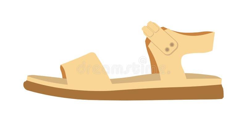 Kobieta wygodny przypadkowy sandał na mieszkanie podeszwie odizolowywał ilustrację ilustracji