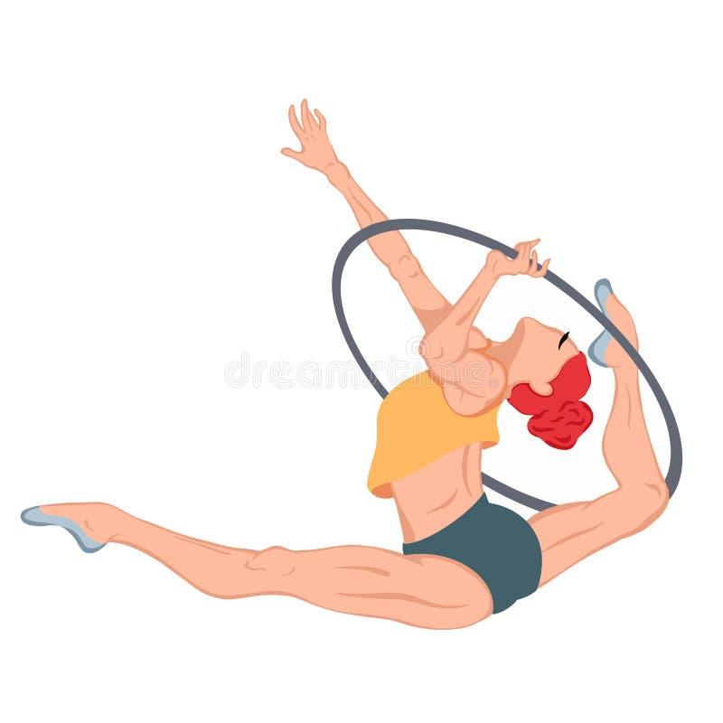 Kobieta wykonująca ćwiczenia gimnastyczne z Hoop obraz stock