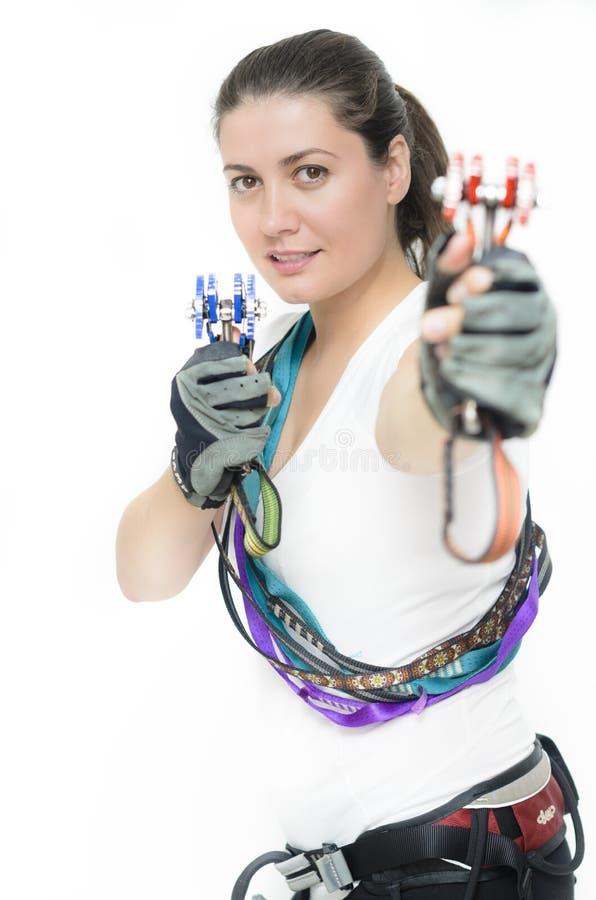 Kobieta wyposażająca z pięcie przekładnią obrazy royalty free