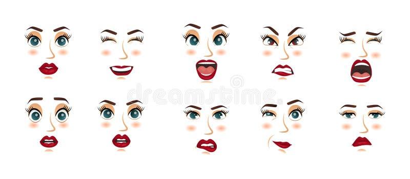 Kobieta wyrazy twarzy, gesty, emoci szczęścia niespodzianki obmierzłości smucenia zachwyta rozczarowania strachu niespodzianki ra ilustracji