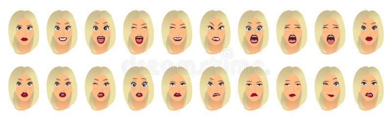 Kobieta wyrazy twarzy, gesty, emoci szczęścia niespodzianki obmierzłości smucenia zachwyta rozczarowania strachu niespodzianki ra ilustracja wektor