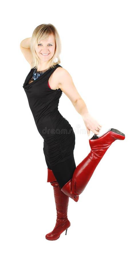 but kobieta wysoka czerwona zdjęcia stock