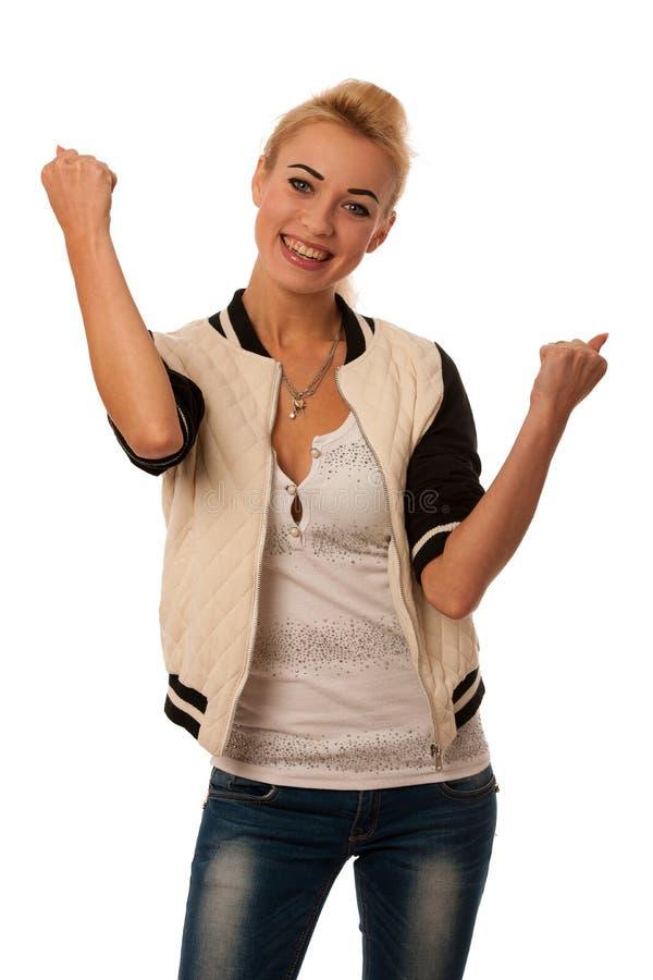 Kobieta wzrasta ręki jak gest sukces obrazy stock