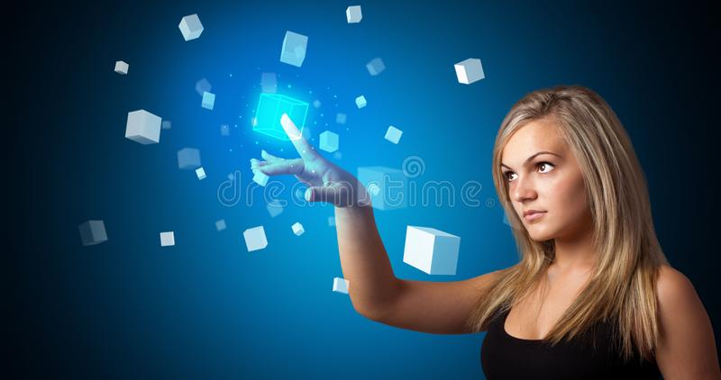 Kobieta wzruszaj?cy hologram obraz stock