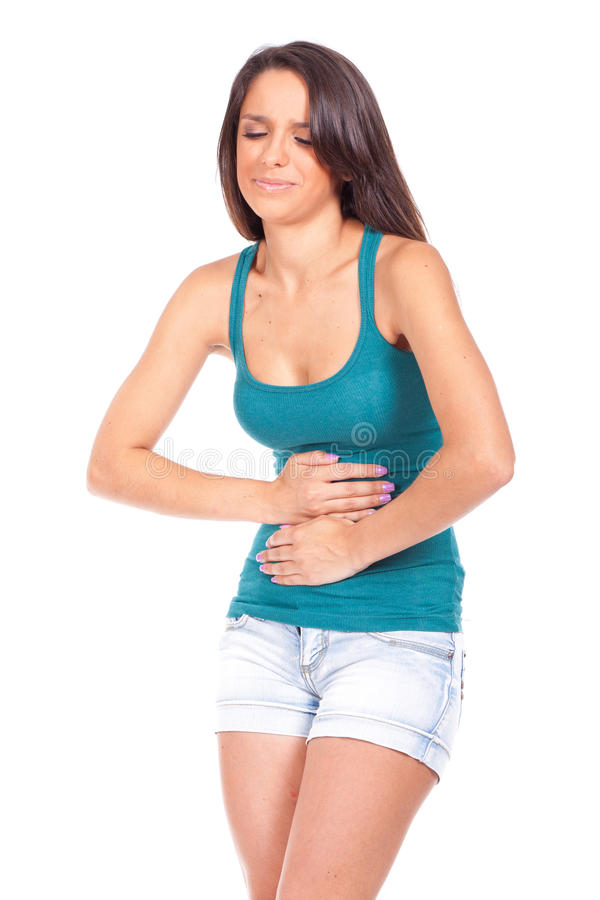 Kobieta z żołądek obolałością fotografia stock