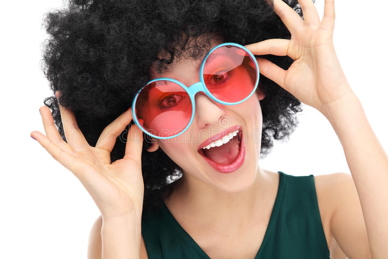 Download Kobieta z afro i szkłami zdjęcie stock. Obraz złożonej z ubierający - 28189272