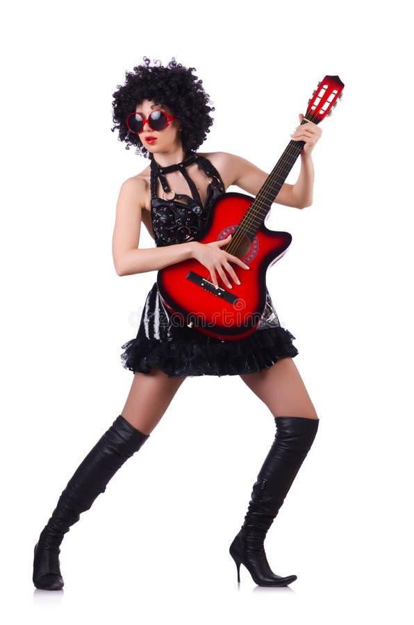 Kobieta z afro peruką zdjęcie stock