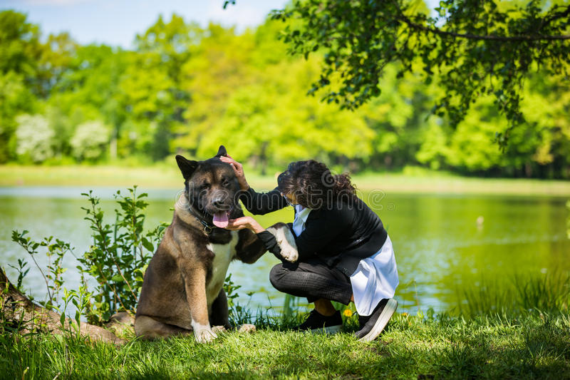 Kobieta z Amerykańskim Akita psem obraz royalty free