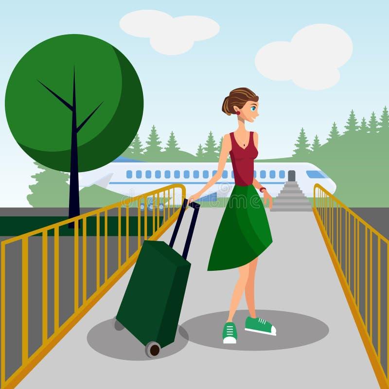 Kobieta z bagażem w Lotniskowej Wektorowej ilustracji ilustracji