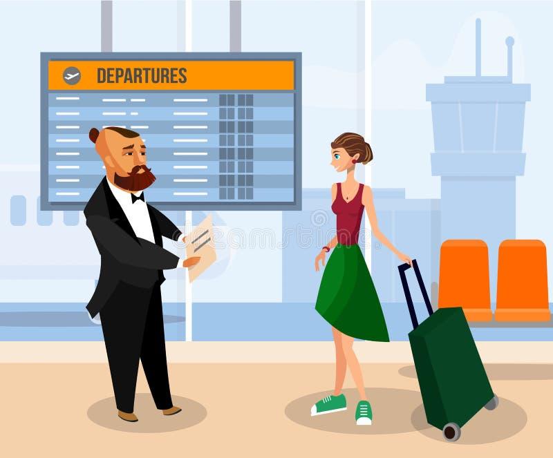 Kobieta z bagażem w Lotniskowym Śmiertelnie rysunku royalty ilustracja