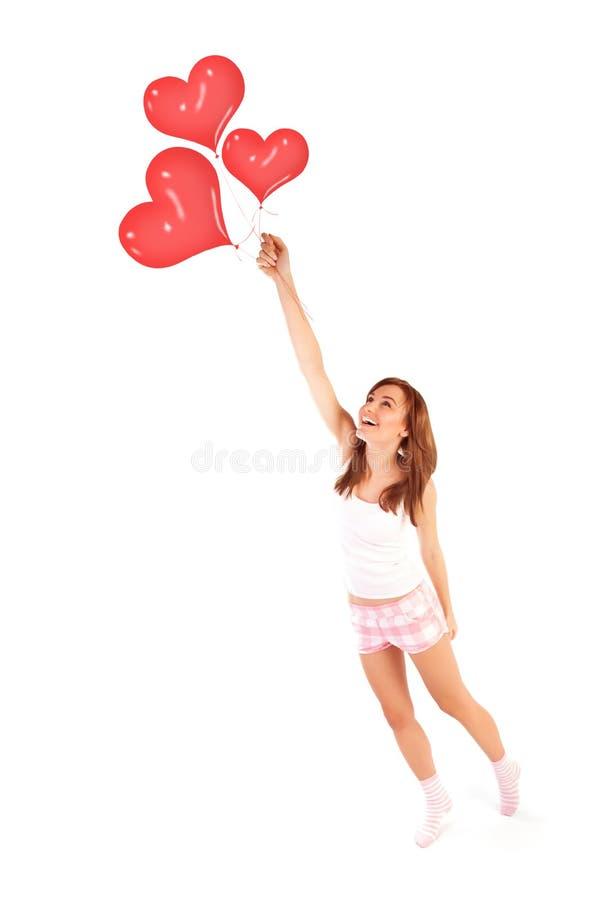 Kobieta z balonami fotografia royalty free