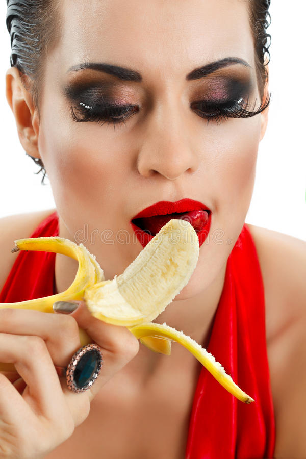 Download Kobieta z bananem obraz stock. Obraz złożonej z kopiasty - 28967437