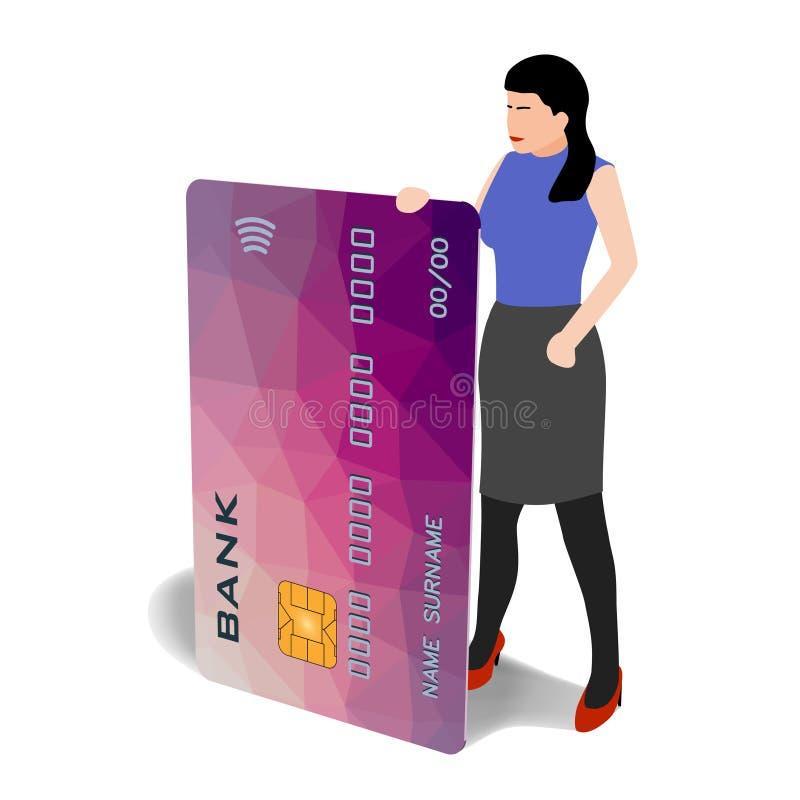 Kobieta z bank karty klamerki odosobnioną sztuką ilustracja wektor