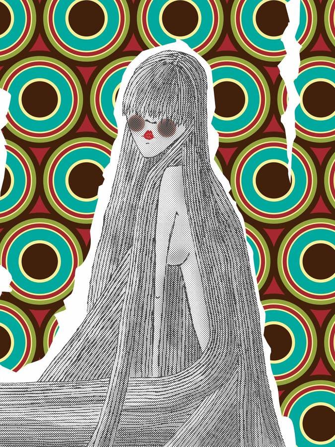 Kobieta z bardzo długie włosy z retro tłem royalty ilustracja