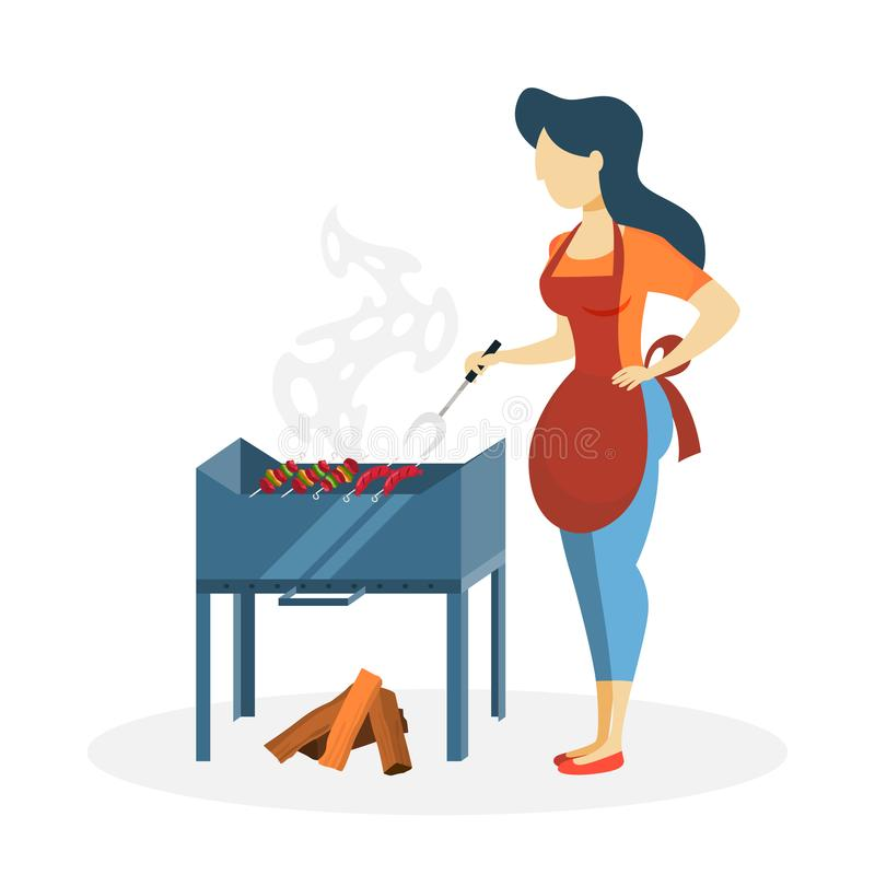 Kobieta z bbq royalty ilustracja