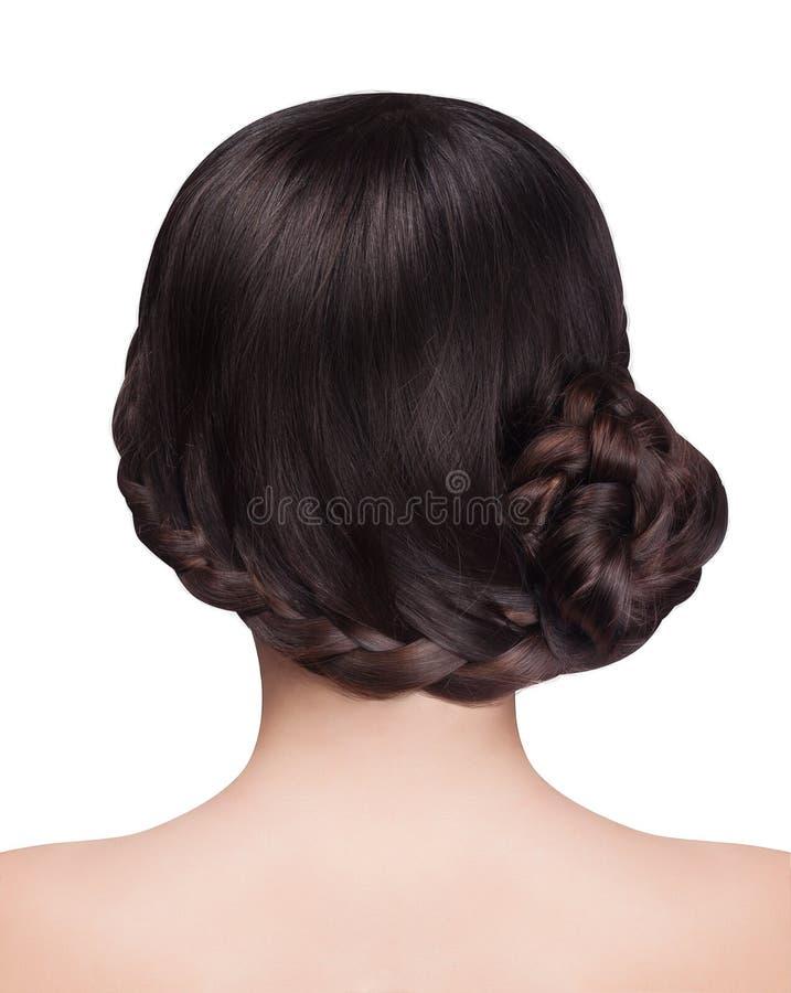 Kobieta z brunetka włosy i warkocza uczesaniem fotografia stock