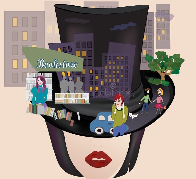 Kobieta z butlą i miasto royalty ilustracja