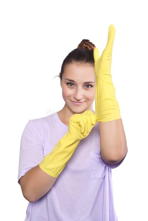 Kobieta z cleaning rękawiczkami fotografia royalty free