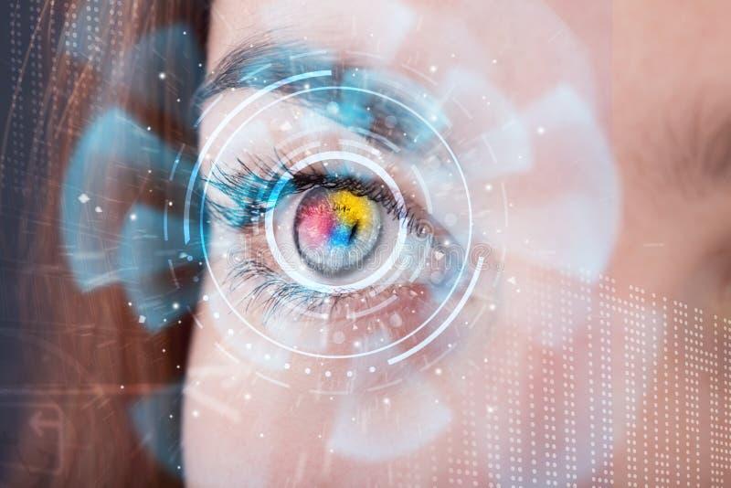 Kobieta z cyber technologii oka panelu pojęciem zdjęcia stock