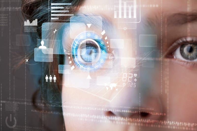 Kobieta z cyber technologii oka panelu pojęciem zdjęcie royalty free