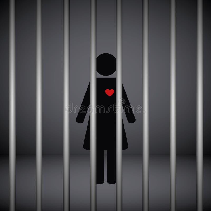 Kobieta z czerwonym sercem w więzieniu na ciemnym tle ilustracja wektor
