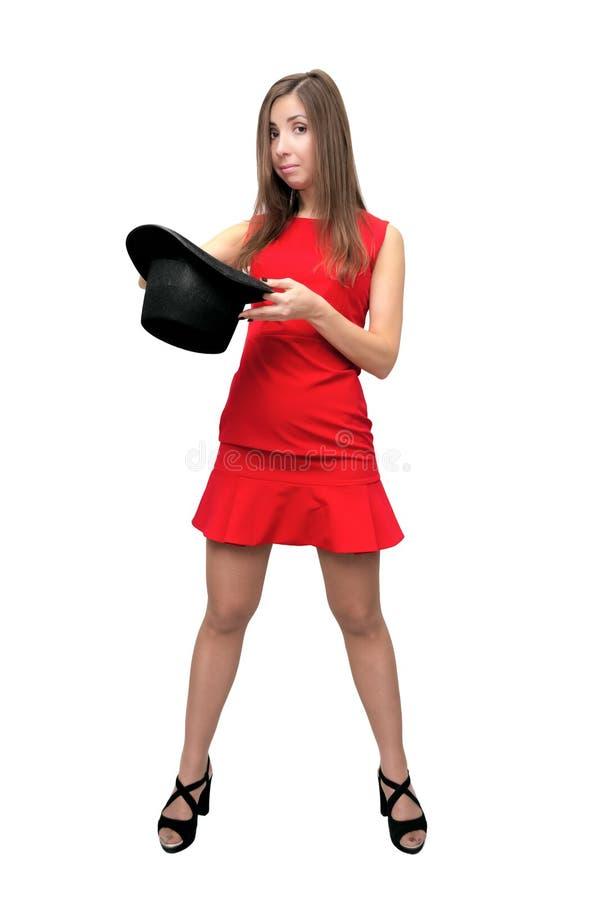 Kobieta z dęciaka kapeluszem zdjęcia royalty free