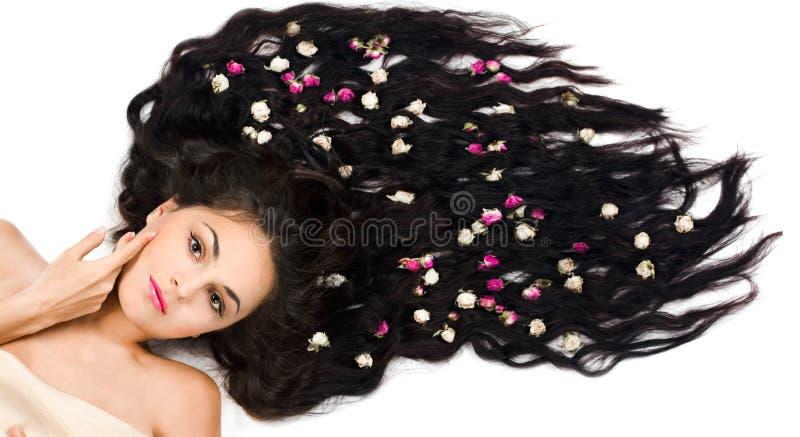 Kobieta z długie włosy zdjęcia royalty free