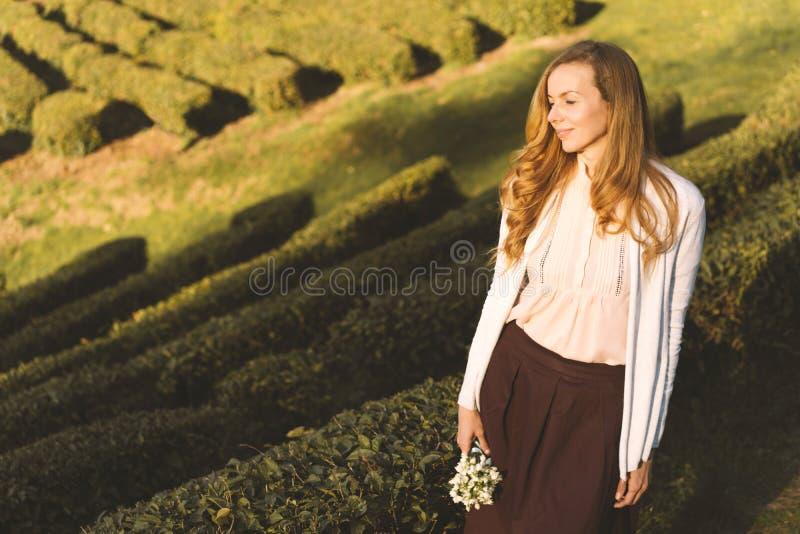 Kobieta z długie włosy z bukietem kwiaty śnieżyczki na tle herbaciana plantacja obrazy royalty free
