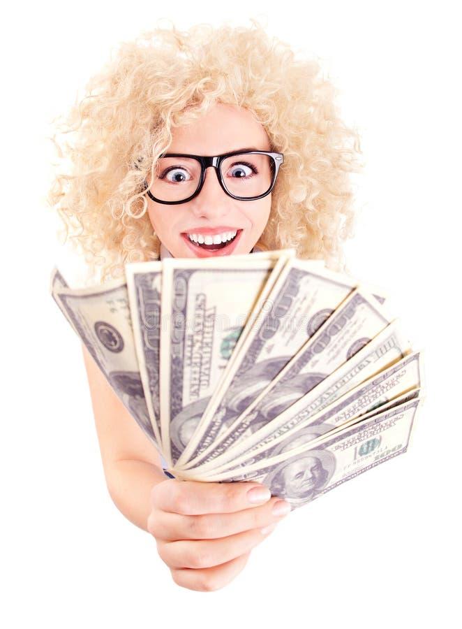 Kobieta z dolarami w jej rękach zdjęcie stock