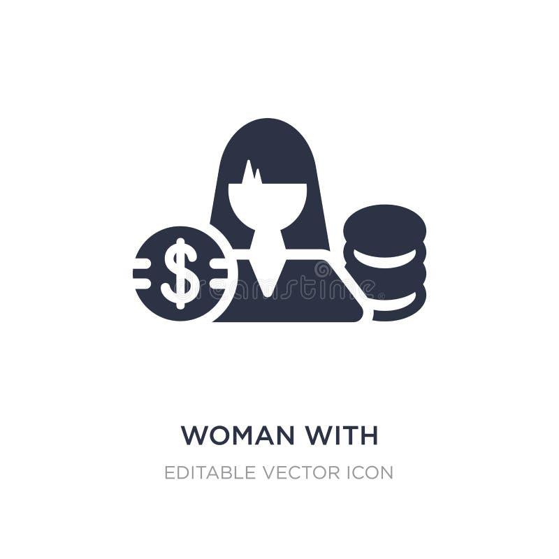 kobieta z dolarową okrąg ikoną na białym tle Prosta element ilustracja od Biznesowego pojęcia ilustracji