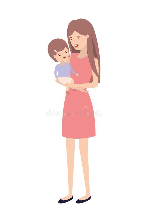 Kobieta z dziecka avatar charakterem ilustracja wektor