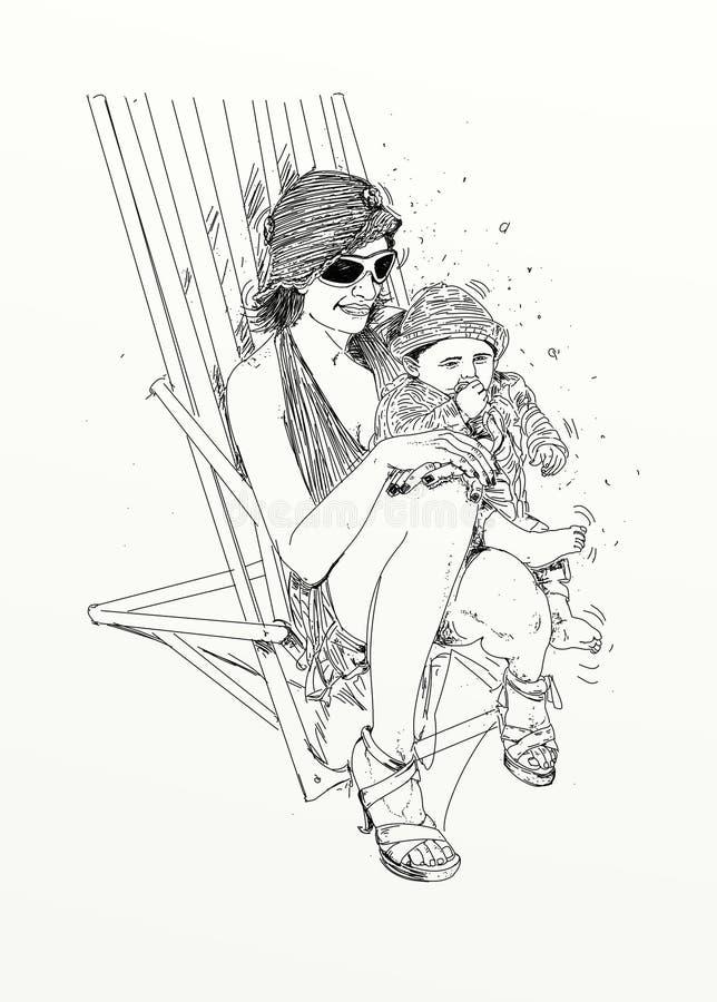 kobieta z dziecka, przerafinowywającej i zmysłowej linią Projektującą dla erotyka, jest usytuowanym, tak jak Chiat i sklep, intym royalty ilustracja