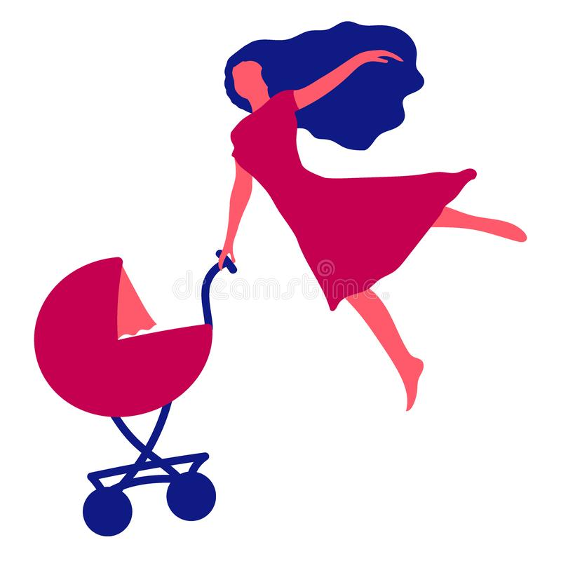 Kobieta z dziecko frachtem Mama prostująca jeden ręka jak skrzydło lata, ilustracji