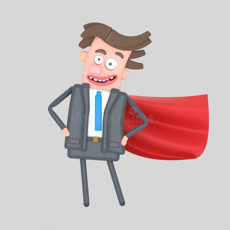 Kobieta z emoticon twarzy heroiną ilustracja 3 d Super biznesmena bohater ilustracji