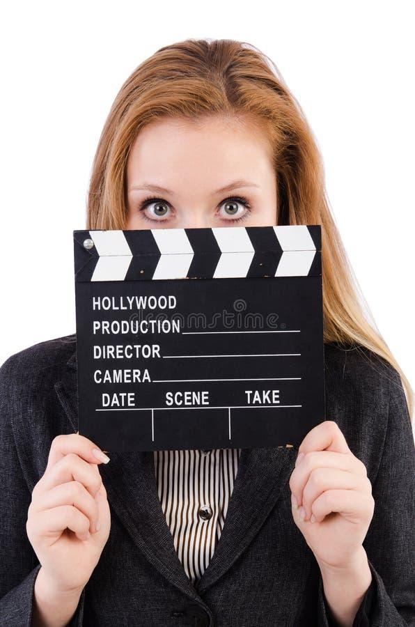 Kobieta z film deską zdjęcie royalty free