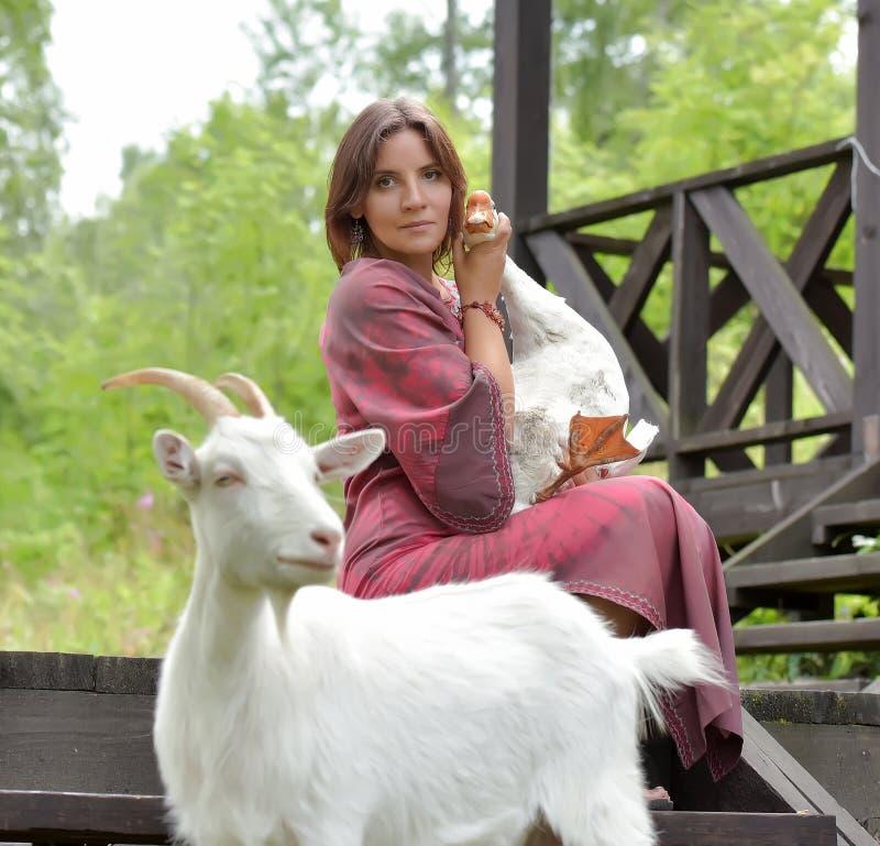 Kobieta z gąską i kózką obraz royalty free