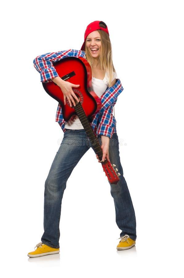 kobieta z gitarą zdjęcie royalty free