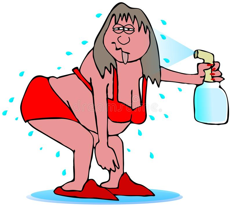 Kobieta z gorącym błyskiem ilustracja wektor