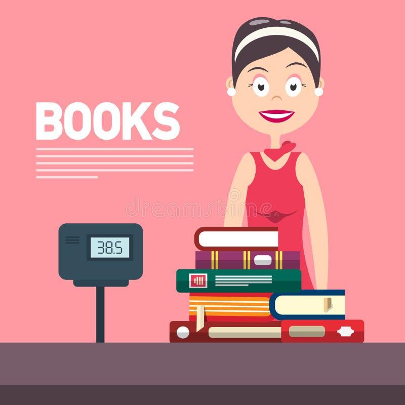 Kobieta z gotówki pudełkiem w Bookstore Książka projekta Płaska ilustracja ilustracja wektor